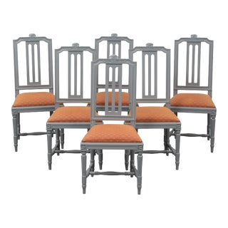 Carved Gustavian Chairs - Set of 6 For Sale