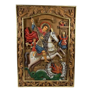 Hand Carved St. George Icon Wall Sculpture For Sale