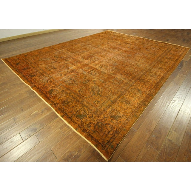 "Orange Tabriz Overdyed Area Rug - 9'10"" X 12'3"" - Image 2 of 10"