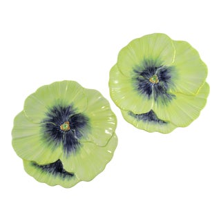 Vintage Porcelain Vietri Majolica Hand Made Yellow Flower Salad Plates, Italy - a Pair For Sale