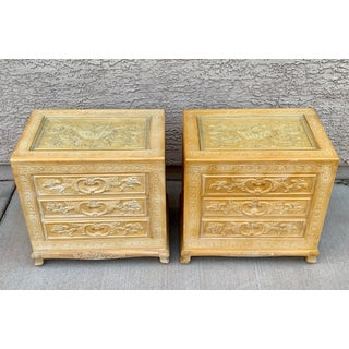 Vintage Hand Carved Asian Nightstands - a Pair Preview