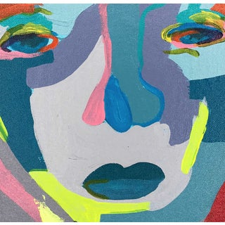 """Contemporary Abstract Portrait Painting """"It's Confusing 'Til It Makes Sense"""" - Framed Preview"""