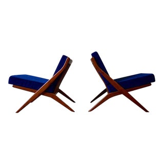Mid Century Modern Teak Scissor Lounge Chairs, a Pair