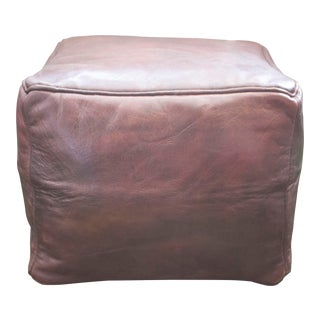 French Brown Square Pouf For Sale