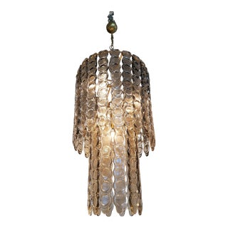 Large Murano light smoked textured glass chandelier, mid century modern
