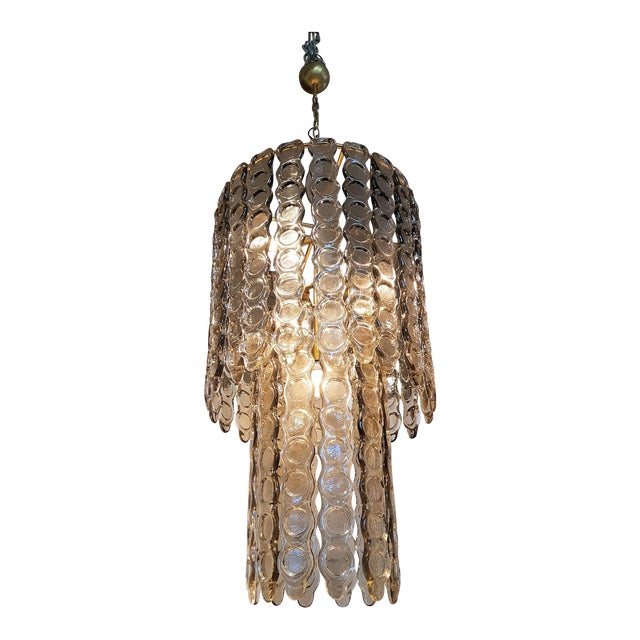 Large Murano Smoked Glass Chandelier Mid Century Modern, Mazzega Style For Sale