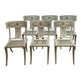 Image of Swedish Neoclassical Painted Metal Klismos Dining Chairs - Set of 6 For Sale