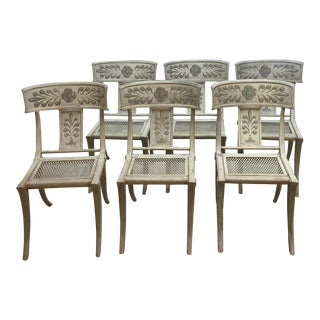 Swedish Neoclassical Painted Metal Klismos Dining Chairs - Set of 6 For Sale