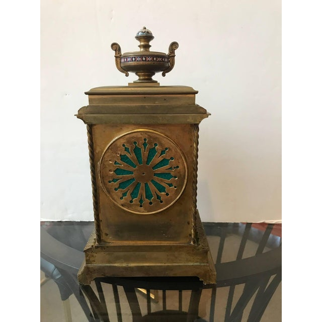19th Century Antique French Champlevé Mantle Clock For Sale In Philadelphia - Image 6 of 10