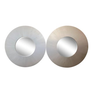 MCM Monumental Platinum Silver Circular Wall Mirrors - a Pair For Sale