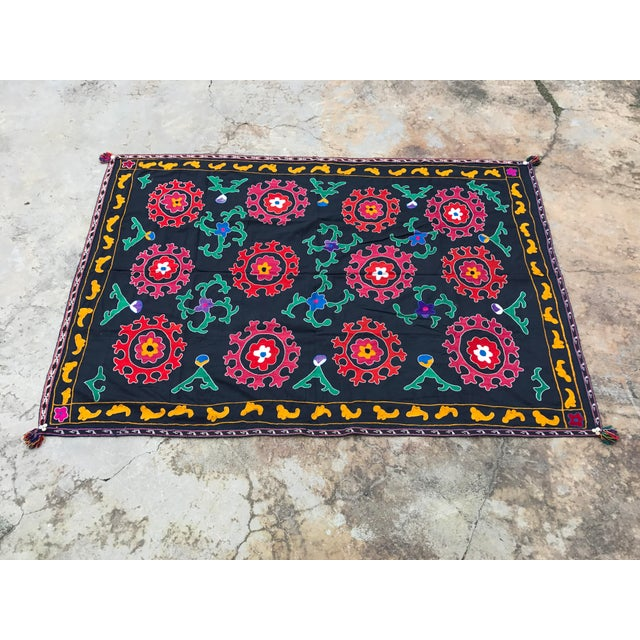 Antique Red & Green Floral Pattern Suzani Textile For Sale - Image 5 of 6