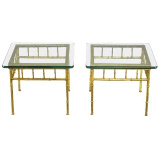 Italian Glazed Gilt Metal Faux Bamboo End Tables - a Pair