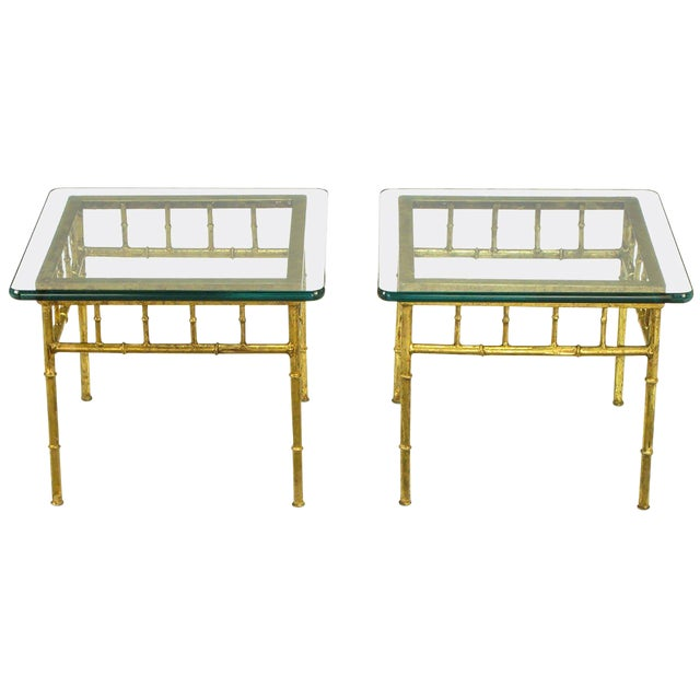 Italian Glazed Gilt Metal Faux Bamboo End Tables A Pair