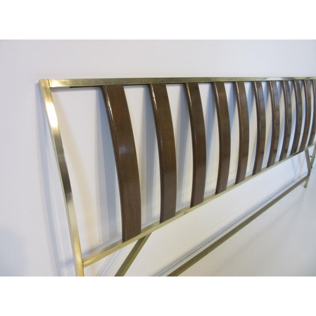 Mid-Century Modern Harvey Probber Queen Sized Brass / Mahogany Headboard For Sale - Image 3 of 9