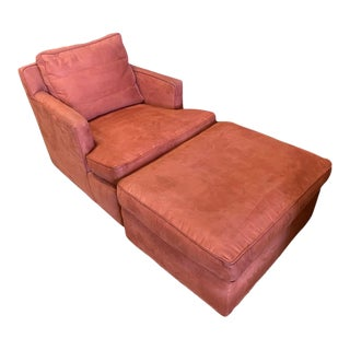 Mid 20th Century Chair and Ottoman in the Style of Edward Wormley For Sale