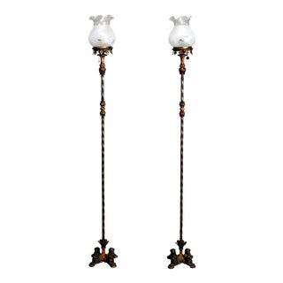 Antique Arts & Crafts Oscar Bach School Figural Bronzed Torchiere Lamps - a Pair For Sale