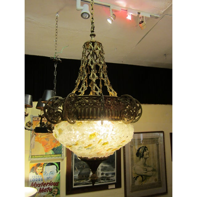 Art Nouveau Early 20th Century Art Nouveau Italian Glass and Bronze Floral Chandelier For Sale - Image 3 of 11