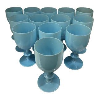 Portieux Vallerysthal Opaline Glasses in Aqua - Set of 13 For Sale