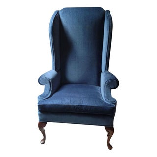 Blue Velvet High Back Winged Chair