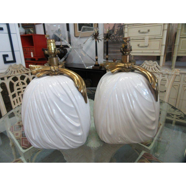 Chapman Brass & Ceramic Lamps - A Pair - Image 6 of 6
