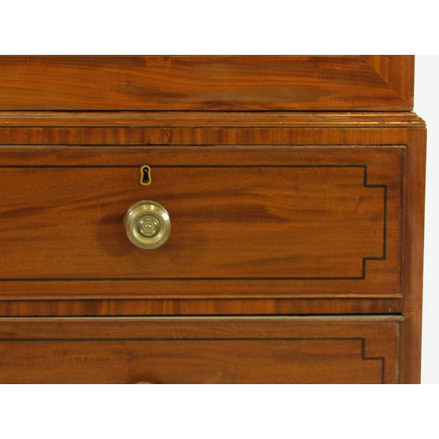 Brass 19th-C. Regency Inlaid Linen Press For Sale - Image 7 of 9