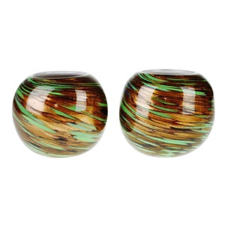 Hand Blown Art Glass Votive Candle Holders - a Pair For Sale