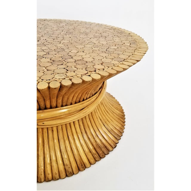 Vintage 1960s Rattan Wheat Sheaf Coffee Table by McGuire For Sale - Image 9 of 12