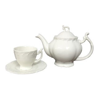 English Traditional White Ceramic Teapot and Teacup With Saucer - 3 Piece Set For Sale