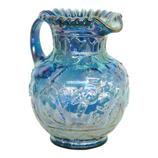Wc Fenton Apple Tree Iridescent Blue Carnival Glass Water Pitcher For Sale
