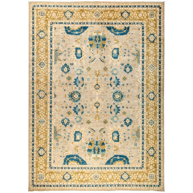 "Suzani Hand Knotted Area Rug - 10'2"" X 14'2"" For Sale"