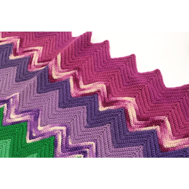 Mid 20th Century Vintage Chevron Afghan For Sale - Image 5 of 7