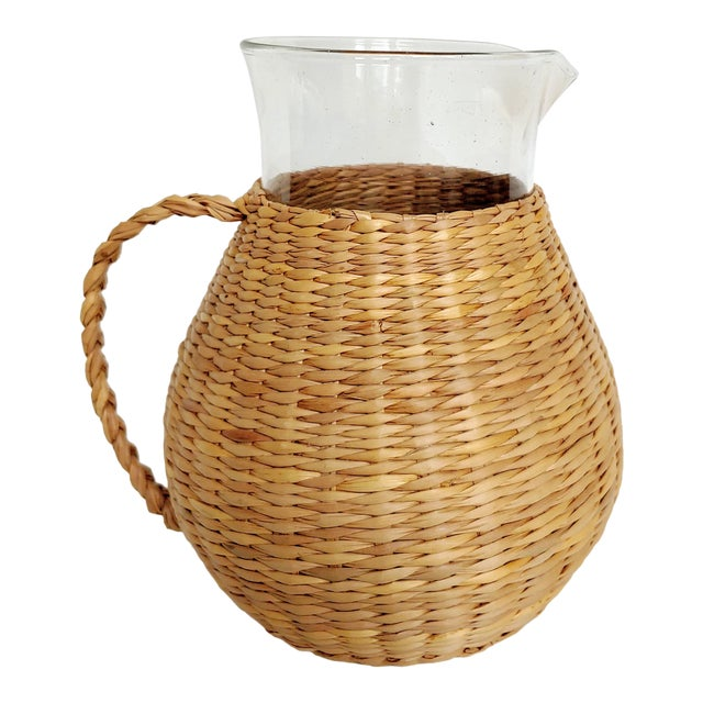 Woven Wicker Wrapped Pitcher For Sale