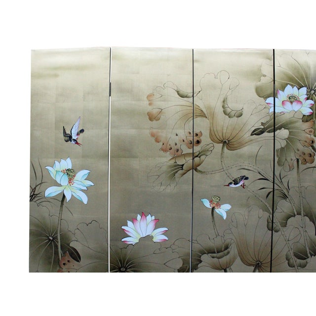 Asian Chinese Golden Oriental Lotus Flower Birds Graphic Screen For Sale - Image 3 of 12