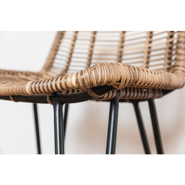 Metal Asher and Rye Woven Natural Fiber Outdoor Barstools - Set of 3 For Sale - Image 7 of 9