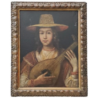 "18th to 19th Century ""Girl With Lute"" Original Oil Painting For Sale"