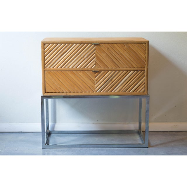 Rare Milo Baughman split reed bamboo accent table for Thayer Coggin. This little table makes a big statement. It can stand...