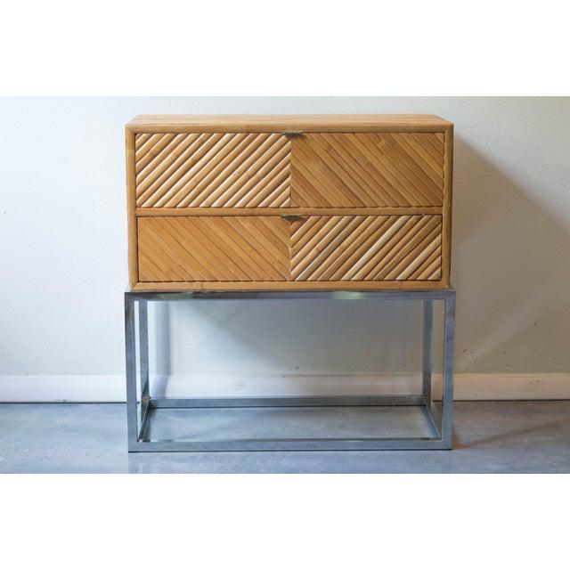 Milo Baughman Split Bamboo Rattan Nightstand Table - Image 2 of 7