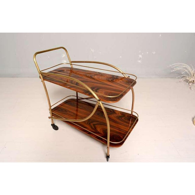 Modern Brazilian Rosewood Double Deck Service Cart For Sale - Image 3 of 10
