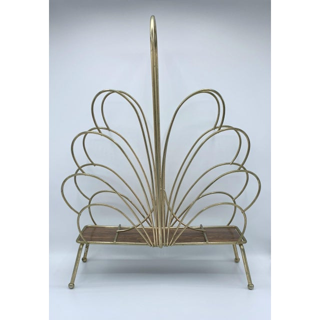 Mid 20th Century Hollywood Regency Style Brass Magazine Rack For Sale - Image 5 of 5