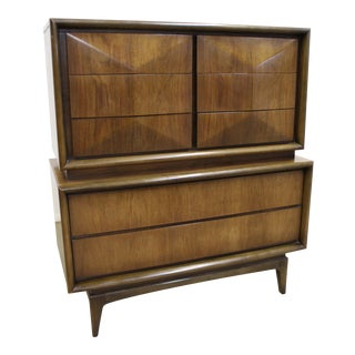Mid-Century Modern United Diamond Front Large Walnut Tall Chest Dresser For Sale