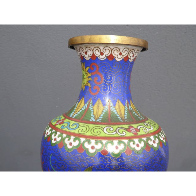 Vintage Chinese Cloisonne Brass Painted Blue Dragon Vases - A Pair - Image 8 of 11