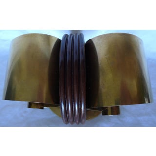 Early 20th Century Vintage Fred D. Farr, Revere Co., Art Deco Brass and Walnut Bookend Preview