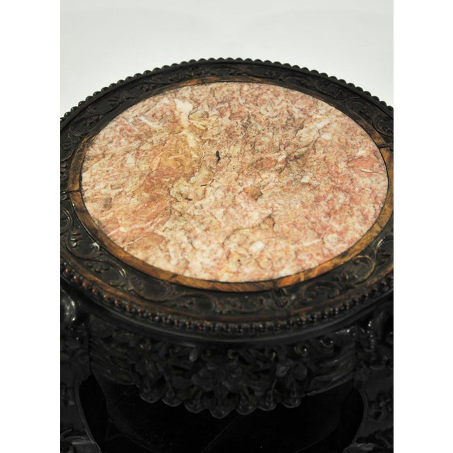 19th C. Chinese Carved Marble Inlay Round Side Table For Sale - Image 4 of 13
