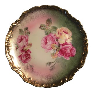 Antique Wheelock Hand Painted Roses Plate For Sale