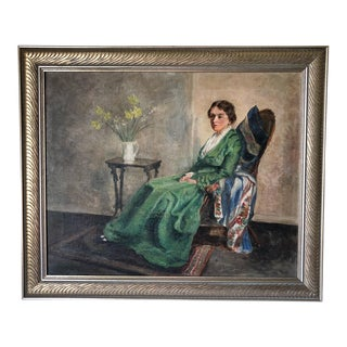1920s Vintage Large American School Woman in Chair Oil on Canvas Painting For Sale