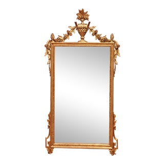Vintage Carved Italian Gilded Neoclassical Mirror - Mantle / Wall Mirror For Sale