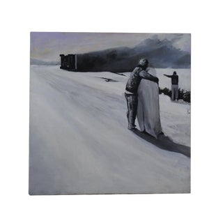 1990s Snowscape Tragedy Contemporary Painting For Sale