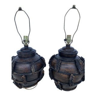 Organic Terra-Cotta Lamps With Woven Wicker Details a Pair. For Sale
