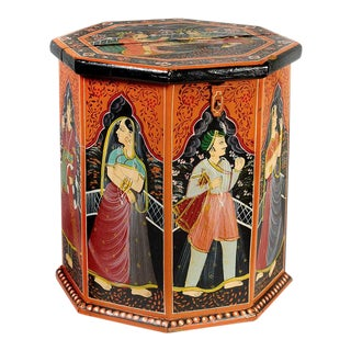 Hand Painted Rajasthani Wooden Box For Sale