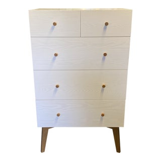 West Elm Mid-20th Century Style Tallboy Dresser For Sale